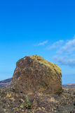 Volcanic bomb in front of volcano Montana Colorada in Lanzarote, Royalty Free Stock Image