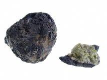Volcanic Bomb/Olivine. Origin: Lanzarote. Precious Stones Collection, studio isolated photo Stock Photo