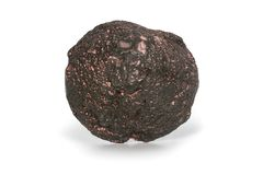 Volcanic bomb from the slopes of Vesuvius volcano. on white background, close up
