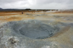 Volcanic borehole, Iceland. Krafla steam boreholes valley in Iceland Royalty Free Stock Photos