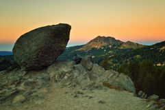 Volcanic Boulder at Dawn, Lassen Volcanic National Park Stock Photo