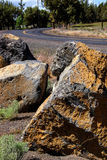 Volcanic boulders with lichen Stock Image