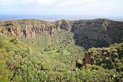 Volcanic caldera. Caldera de Bandama - volcanic landscape of Gran Canaria, Spain stock photography