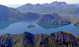 Volcanic Caldera Viewed from Above Stock Photo