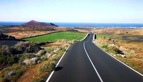 Volcanic Canary Island road Lanzarote stock photos