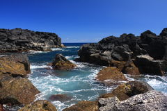 Volcanic coast. Volcanic landscape of pico island coast Royalty Free Stock Image