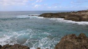 Volcanic coast in Kaena Point stock footage