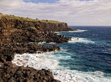 Volcanic coast in la Reunion island Stock Photos