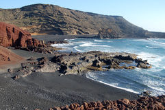 Volcanic Coastline. Part of the spectacular coast of Southern Lanzarote Stock Photos