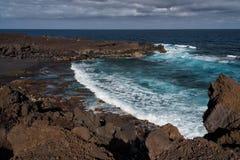 Volcanic coastline, Lanzarote, Spain Royalty Free Stock Photos