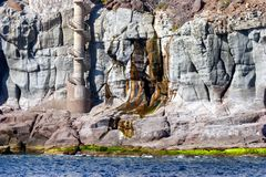 A volcanic and colourful rock face in Gran Canaria from the sea. A volcanic and colourful rock face in Gran Canaria taken from the sea royalty free stock photography