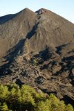 Volcanic Cone And Cooled Lava In Etna National Park, Sicily. Small volcanic cone of De Fiore Mount and cooled lava flow sciara of the 1974 eruption in Etna stock images