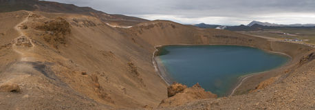 Volcanic crater. Viti, a lake in a volcanic crater in Iceland Stock Images