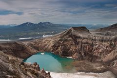 Volcanic crater. Acid lake in volcanic crater Royalty Free Stock Photos