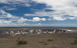 Volcanic crater. Halema'uma'u crater, in the caldera of Kilauea volcano, Hawaii, USA Royalty Free Stock Photos