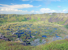 Volcanic Crater In Easter Island. Rano Kau, the Volcanic crater lake in Easter Island Royalty Free Stock Photos