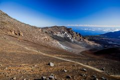 Volcanic crater at Haleakala National Park on the island of Maui, Hawaii. Colors of massive volcanic crater at Haleakala National Park on the island of Maui Stock Photo