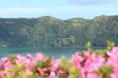 Volcanic crater lake on the island of Sao Miguel Stock Photography
