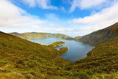 Volcanic crater lake at Sao Miguel, Azores. Volcanic crater lake at Sao Miguel, Autonomous Region of the Azores, Portugal Stock Photo