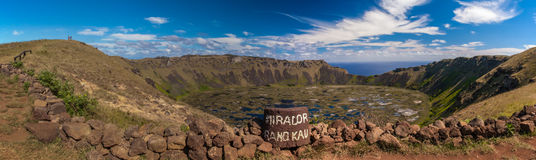Volcanic Crater. Panoramic Composition of Water Filled Volcanic Crater on Rapa Nui Royalty Free Stock Photos