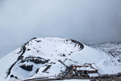 Volcanic crater with snow Stock Image