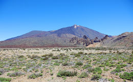 Volcanic desert near Teide. Panoramic view of volcanic desert near El Teide volcano, Tenerife, Spain Royalty Free Stock Photos