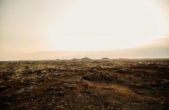 Volcanic earth in Iceland. The earth is covered with solidified lava stock photo