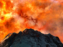 Volcanic eruption. Dormant, big volcano being born again Stock Photo