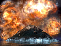Volcanic eruption. Dormant, big volcano being born again Stock Photos