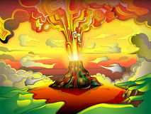 Volcanic eruption. A bright, colorful illustration of a volcanic eruption Stock Image