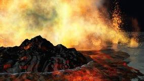 Volcanic eruption. Huge volcanic eruption on land Royalty Free Stock Image