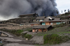 Volcanic eruption in the Cemoro Lawang town on Jawa in Indonesia Royalty Free Stock Image
