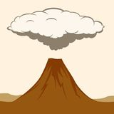 Volcanic eruption with clouds of smoke. Vector Illustratiom Stock Images