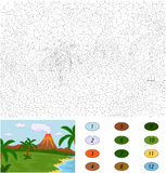 Volcanic eruption. Color by number educational game for kids. Illustration for schoolchild and preschool royalty free illustration