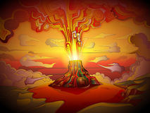 Volcanic eruption design. Illustration of a volcanic eruption in yellow and red Royalty Free Stock Photography