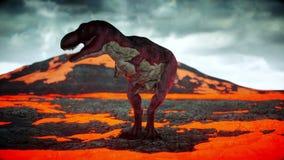 Volcanic Eruption. Dinosaur. Prehistoric period, rocky landscape. Realistic 4K animation.