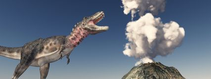 Volcanic eruption and the dinosaur Tarbosaurus. Computer generated 3D illustration with a volcanic eruption and the dinosaur Tarbosaurus Stock Image