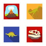 Volcanic eruption, gallimimus, stegosaurus,dinosaur skull. Dinosaur and prehistoric period set collection icons in flat. Style vector symbol stock illustration Royalty Free Stock Photo
