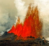 Volcanic Eruption in Holuhraun Iceland (2014) Royalty Free Stock Images