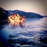 Volcanic eruption on island Royalty Free Stock Photography