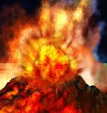 Volcanic eruption on island stock illustration
