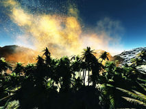 Volcanic eruption on island Royalty Free Stock Photo