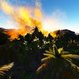 Volcanic eruption on island Stock Photo