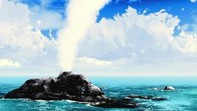 Volcanic eruption on island stock footage