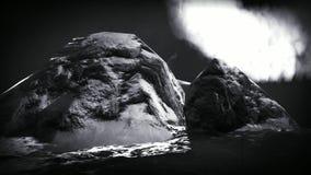 Volcanic eruption on island stock video