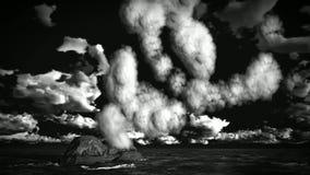 Volcanic eruption on island stock video footage