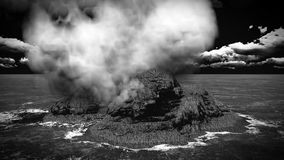 Volcanic eruption on island 3d rendering Royalty Free Stock Images