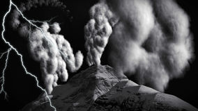 Volcanic eruption on island 3d rendering Royalty Free Stock Photo