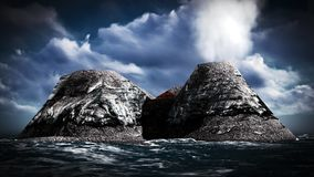 Volcanic eruption on island 3d rendering Royalty Free Stock Image