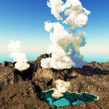 Volcanic eruption on island Stock Photos